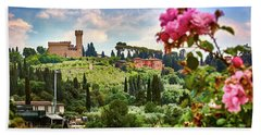 Castle And Roses In Firenze Hand Towel