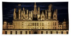 Hand Towel featuring the photograph Castle Chambord Illuminated by Heiko Koehrer-Wagner