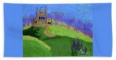 Bath Towel featuring the painting Castle In The Sky by Johanne Peale