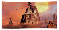 Castle On Seastack Hand Towel