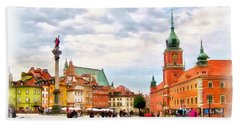 Castle Square, Warsaw Bath Towel by Maciek Froncisz