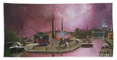 Hand Towel featuring the painting Castlemill Yard by Ken Wood