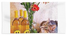 #cat + #wine + #flowers = The #caturday Hand Towel