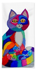 Cat And Kittens 2 Bath Towel