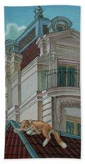 Cat From A Boulevard Saint-michel Bath Towel