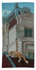 Cat From A Boulevard Saint-michel Bath Towel