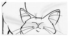 Cat Gesture Sketch Hand Towel