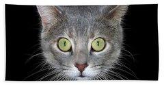 Cat Head On Black Background Hand Towel