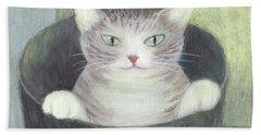 Cat In A Bucket Hand Towel