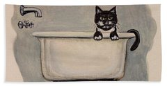 Cat In The Bathtub Hand Towel
