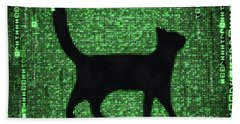 Bath Towel featuring the digital art Cat In The Matrix Black And Green by Matthias Hauser