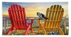 Hand Towel featuring the photograph Cat Nap At The Beach by Debra and Dave Vanderlaan