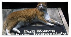 Bath Towel featuring the photograph Cat On Dull Women Mat by Sally Weigand