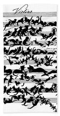 Cat Violin Score Bath Towel