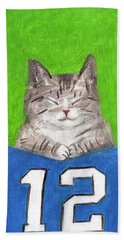 Cat With 12th Flag Bath Towel