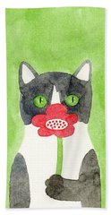 Cat With A Red Flower Hand Towel