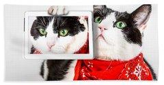 Cat With Bandana Bath Towel