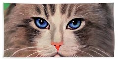 Cat With Blue Eyes Bath Towel by Maja Sokolowska