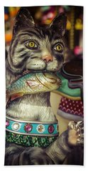 Cat With Fish Carrousel Ride Hand Towel