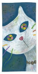 Cat With Kaleidoscope Eyes Hand Towel