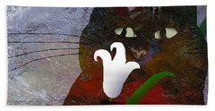 Cat With Lily Bath Towel