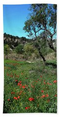 Catalan Countryside In Spring Hand Towel