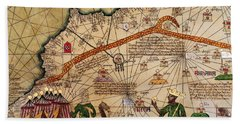 Catalan Map Of Europe And North Africa Charles V Of France In 1381  Hand Towel