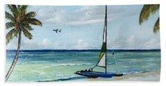 Catamaran On The Beach Hand Towel