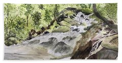 Catawba Falls - A Watercolor Sketch Bath Towel