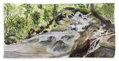 Catawba Falls - A Watercolor Sketch Bath Towel