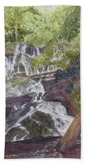 Bath Towel featuring the painting Catawba Falls - Working Notes by Joel Deutsch