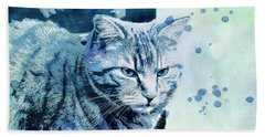 Hand Towel featuring the digital art Catbird Seat by Jutta Maria Pusl