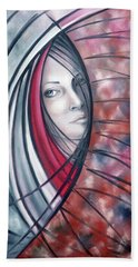 Hand Towel featuring the painting Catch Me If You Can 080908 by Selena Boron