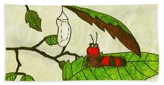 Bath Towel featuring the drawing Caterpillar Whimsy by Wendy McKennon