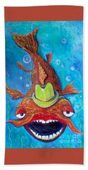 Bath Towel featuring the painting Catfish Clyde by Vickie Scarlett-Fisher