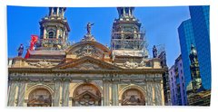 Cathedral Church On Plaza De Armas In Santiago-chile  Hand Towel