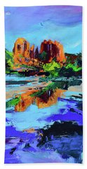 Hand Towel featuring the painting Cathedral Rock - Sedona by Elise Palmigiani
