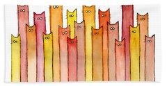 Cats Autumn Colors Hand Towel by Olga Shvartsur