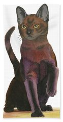 Bath Towel featuring the painting Cats Meow by Ferrel Cordle