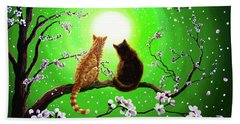 Cats On A Spring Night Hand Towel