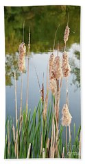Cattail Seeds Wafting In The Air Bath Towel