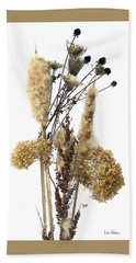 Cattails And November Flowers II Hand Towel by Lise Winne