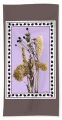 Hand Towel featuring the digital art Cattails And November Flowers by Lise Winne