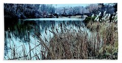 Cattails On The Water Hand Towel by Sandy Moulder