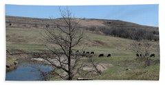 Cattle Along Deep Creek Hand Towel