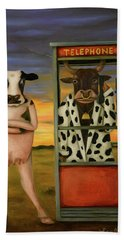Cattle Call Bath Towel by Leah Saulnier The Painting Maniac