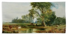 Cattle Watering Hand Towel by Thomas Moran