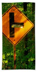 Caution T Junction Road Sign Hand Towel
