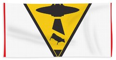 Caution Ufos Hand Towel by Pixel Chimp