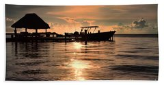Bath Towel featuring the photograph Caye Caulker At Sunset by Lawrence Burry